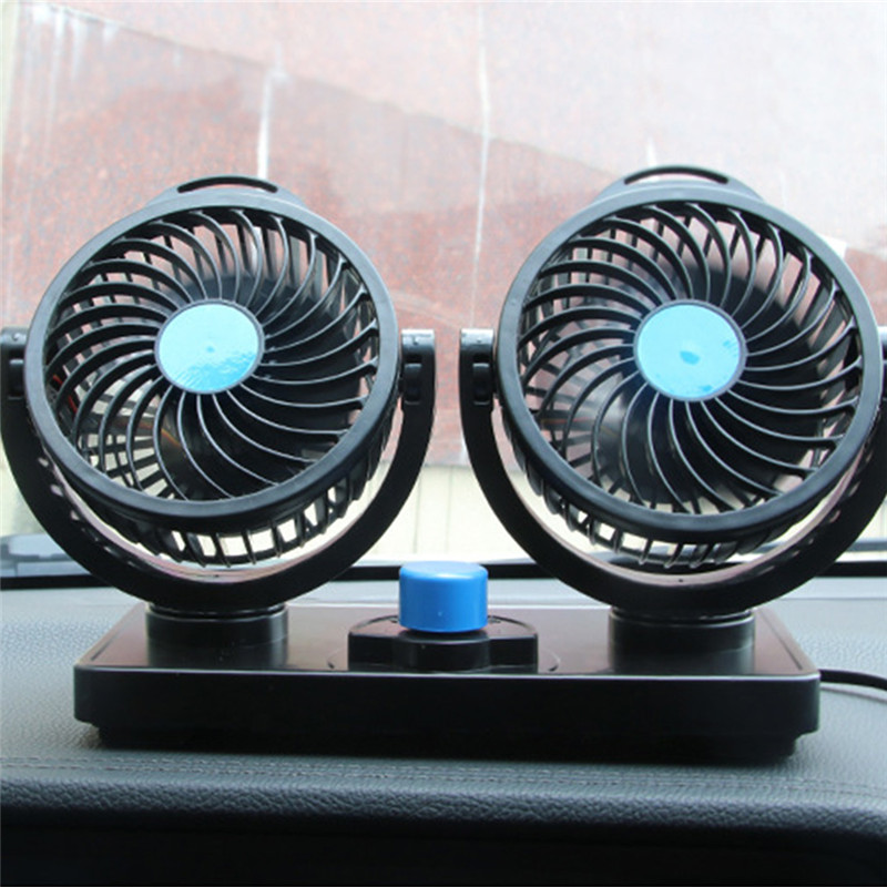 12V Mini Electric Car Fan Low Noise Summer Car Air Conditioner 360 Degree Rotating 2 Gears Adjustable Car Fan Air Cooling Fan(China)