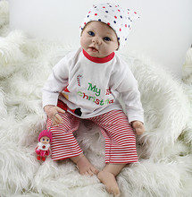 Best NEW YEAR Gift for Little Girl Free shipping 55 CM boy Reborn  Doll toys TOP QUALITY imported silicone soft touch