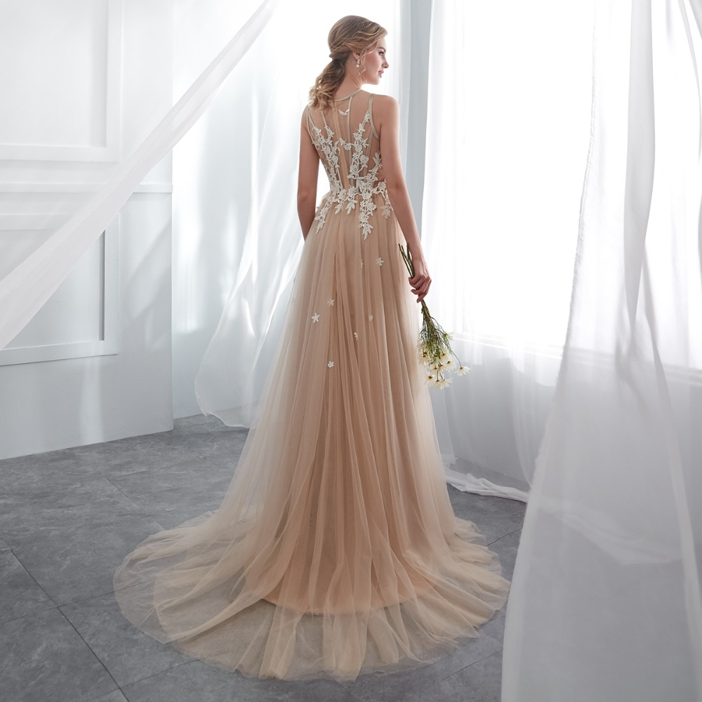 shop Champagne Prom Dress Lace A-line Sleeveless Party Evening Gown