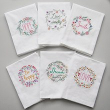 4 Pieces/lot 45*70cm Super-Absorbent Embroidery Cotton Table Napkin Glass Towel & Wedding Serviette  Kitchen Use Handkerchief