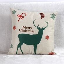 Wholesale Christmas Ornaments Vintage Christmas Santa Sofa Bed Home Decor Square Pillow Case 45cm*45cm Reindeer Navidad 2017@GH