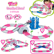 Coaster DIY Flex Race Track Princess Create A Road Deluxe Pink Flexible Track Set with accessories Rail Cars Toys For Girls(China)