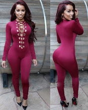 New Womens Long Sleeve Bodysuit Deep Plunge Overalls 5 Colors Slim Tight Bodycon Pencil Front Open Sexy Rompers Night Club Wears