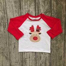 Christmas Fall/winter baby boys children clothes boutique cotton top t-shirts raglans outfits red white reindeer long sleeve