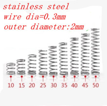 50pcs  0.3mm Stainless Steel Small spot compression spring outer diameter 2mm.  length 5/10/15/20/25/30/35/40/45/50