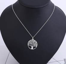 Vintage Fashion Tree Of Life Gold Silver Plated Hollow Tree Circle Pendant Statement Necklace For Women Men colar N108