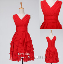 ZJ0121 short red v neck chiffon strapless girls cocktail dresses for party 2015 new arrival tassels with ruffle juniors
