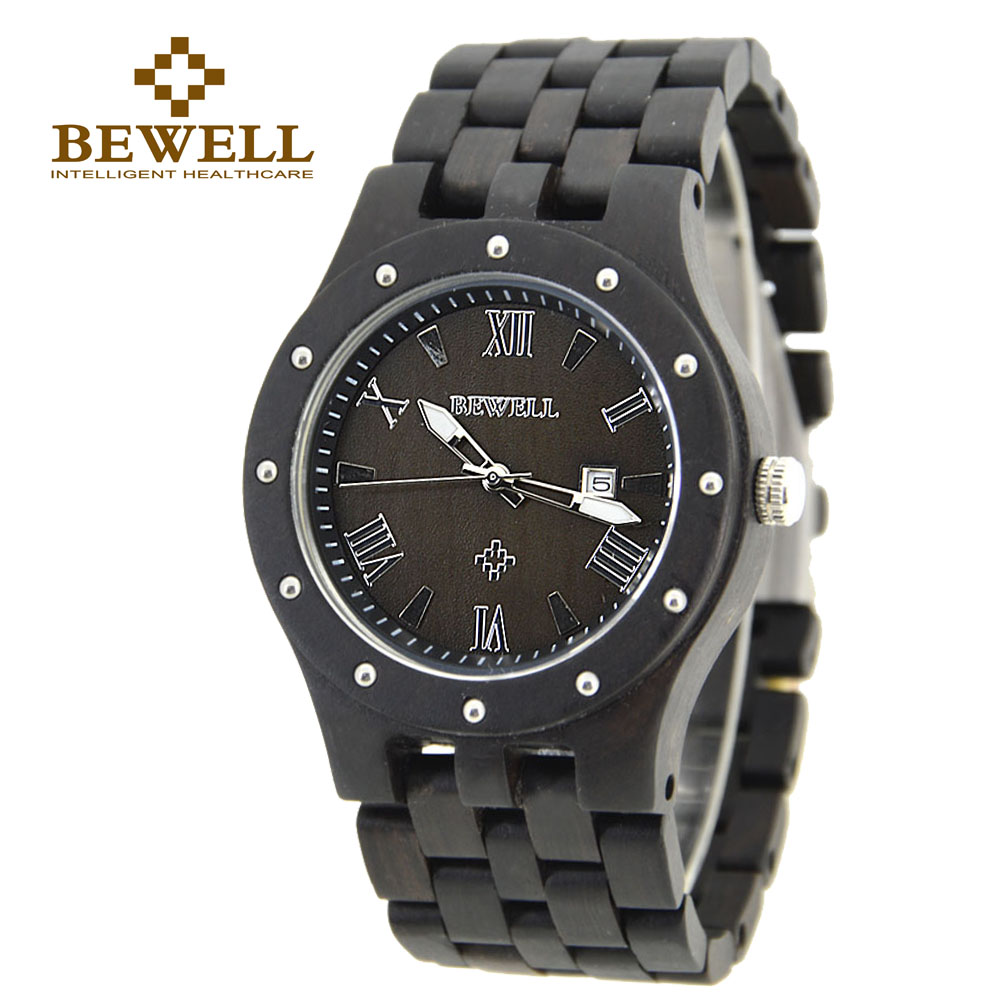 BEWELL Men Watches Top Brand Luxury Round Dial Sandarwood Wristwatch Quartz With Paper Box Gift 109A<br>