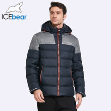 ICEbear 2017 Winter Men's Jacket Stitching Contrast Color Hooded Drawstring Hem Buckle Windproof Cuffs Men Winter Coat 17MD921(China)