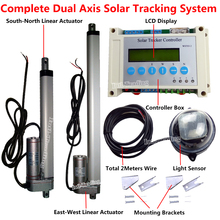 Electronic Dual Axis Complete Sunlight Track Solar Tracker & 1500N ( 6'' & 12'') 12Volt Heavy Duty Linear Actuators & Controller