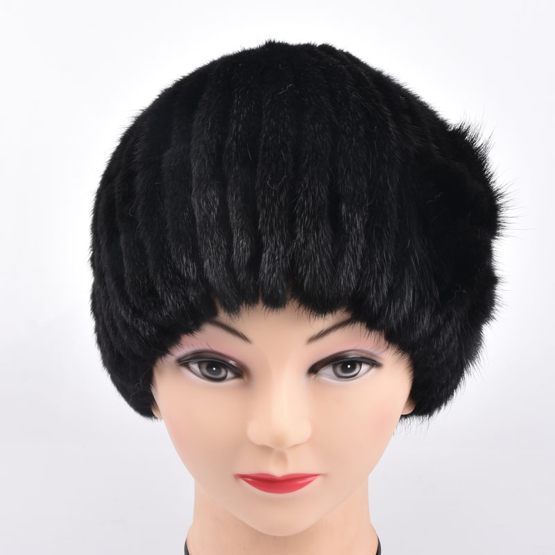 Genuine Mink Fur Caps Women  Knitted Mink Fur Hats With Fur Flower Women Real Fur Flower Beanies Hats Winter