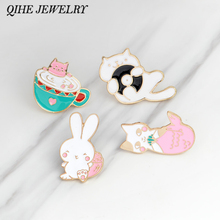 Cat pin Rabbit pin Tea cup cat mermaid cat pink rabbit lapel pin badge Cute animal pins Gift for her Small gifts for friends