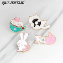 Cat pin Rabbit pin Tea cup cat mermaid cat pink rabbit lapel pin badge Cute animal pins Gift for her Small gifts for friends(China)