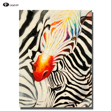 CHENFART Poster on the Wall zebra pattern Oil Painting for Living Room Decorative Paintings(China)