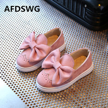 AFDSWG spring and autumn fashion bow pink soft bottom leisure gray children sport shoes shoes for children red childrens shoes(China)