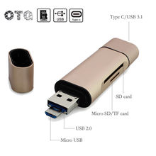 3 in 1 Multifunction OTG Type- C USB 3.0 Micro USB TF SD Card Reader Golden Cardreader OTG Adapter for Smartphone PC Laptop(China)