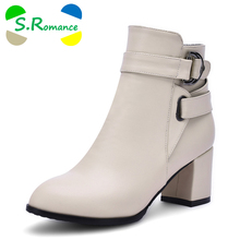 S.Romance Women Ankle Boots Plus Size 34-43 Square Heel Zip Pointed Toe Classic Fashion Woman Shoes Black Beige White SB345(China)