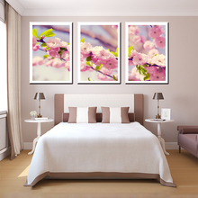 3 pieces canvas oil painting about peach blossom beauty flowers home decoration living room wall art craft pictures pub bar cafe(China)