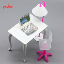 doll furniture desk+lamp+laptop+chair accessories for Barbie Doll,girl play house(China)