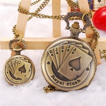 2017 latest women girls watches Good Quality Poker Pattern Style Quartz Necklace Pendant Chain Clock Pocket Watch relogio(China)