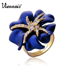 Viennois Gold Plated Starry Night Flower Cocktail Ring of Luxury Crystals Adjustable Rings for Women