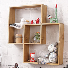 Unique Decorative Vintage Brown Solid Wood Intersecting Wall Shelf