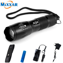 ZK56 4000LM 5 Mode Zoomable LED Flashlight Torch CREE XM-L T6 LED Torch High Power With Chargers 5000mAh Batteries and Sleeve