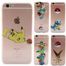 "Cute Pokemon Case For iPhone 6S Case Transparent Clear Soft TPU Silicon Phone Cases For iPhone 6 6S 4.7"" Pikachu Cover Coque"