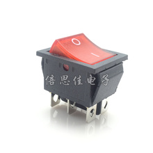 10pcs/Rocker switch KCD4-202 Double knife 6 Pin 2 files Belt lamp KCD4 Red light 16A/250V Ship type switch