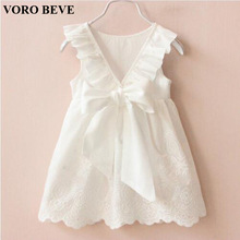 VORO BEVE 2017 Summer New Princess Girl Dress kids Big Bow Girl Dress Children Clothing dress Girls Vestido Infantis