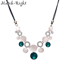 Match-Right Crystal Rhinestone Necklaces & Pendants Rope Chain Statement Necklace Women Collares Ethnic Jewelry