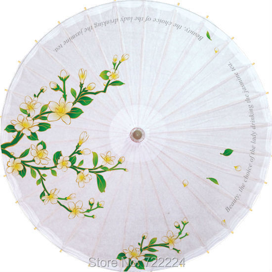 Dia 84cm Elegant Jasmine Chinese Classical Handmade Long-handle Oilpaper Umbrella Dance Decoration Gift Oiled Paper Umbrella<br>
