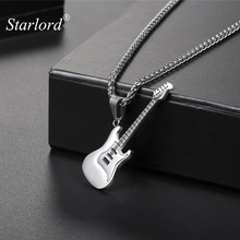 Electric Guitar Pendants & Necklaces Silver Color Stainless Steel For Men Punk Rock Music Jewelry For Men/Women GP2102B(China)