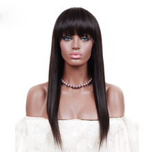 DLME Synthetic Hair Glueless Front Lace Wigs With Bangs Fringe Silky Straight Natural Color For Black Women Free Shippment(China)