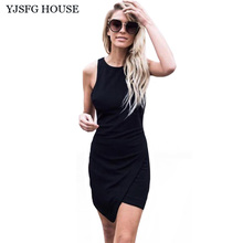 YJSFG HOUSE Casual Ladies Sleeveless Office Work Short Dress 2017 Summer Women O-neck Slim Irregular Bodycon Dress Black White