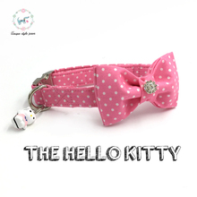 the pink dot  dog collar with bow tie and bell personal custom pet pupply designer product dog &cat necklace XS-XL