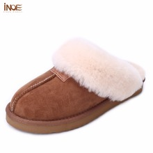 INOE sheepskin leather fur lined women home shoes winter suede slippers indoor house shoes for woman half slippers high quality(China)