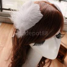 Pair of Women's Feather Hair Clips Wedding Party DIY Hair Accessory White #7