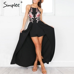 Simplee Elegant bodysuit women jumpsuit romper Backless embroidery combishort femme chritsmas playsuit summer overalls leotard