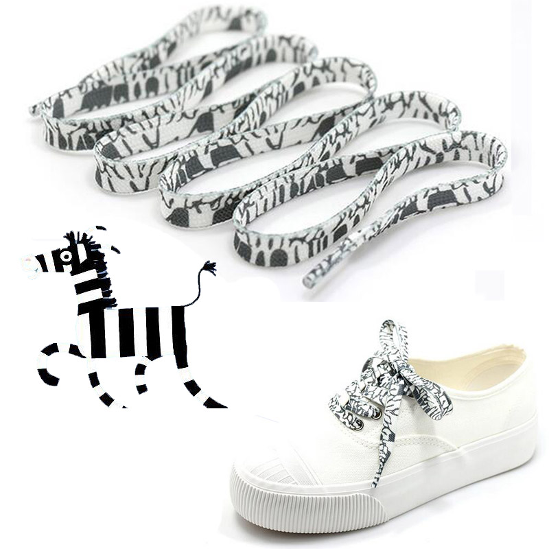 zebra Black and white shoelace decoration Pattern Colored Shoe Laces Flat Shoelace England Style Shoe Lacing Shoelaces printing(China)