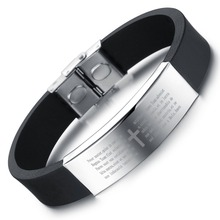 Brand Silver Color Titanium Cuff Cross Bracelet Men Jewelry Stainless Steel Black Genuine Silicone Bracelets & Bangles BA101394