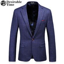 Mens Slim Fit Blue Plaid Blazers S-3XL Fashion 2017 Brand Clothing Casual Business Blazers for Men DT051(China)