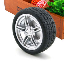 4Pcs Simulation Tire 3mm Axle Hole Rubber Wheel Hub Toy Black Car Truck(China)