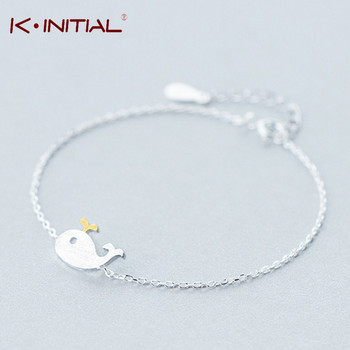 Kinitial 1Pcs 925 Sterling Silver Charm Bracelets For Women Cute Animal Killer Whale Shaped Bracelet Fashion Statement Jewelry