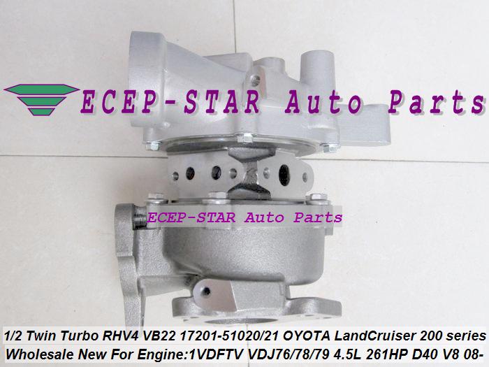 1pc Twin Turbo RHV4 VB22 17201-51020 17201-51021 Turbo For TOYOTA Land Cruiser 200 series D-40 V8 1VD-FTV VDJ76 VDJ78 VDJ79 4.5L (3)