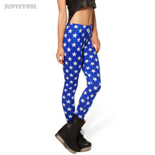 Floral Leggings Lined Slim Pants Stars Print Blue Capris Five-point Stars Trousers Stretch Pants Footless Adult Ladies Appearl(China)
