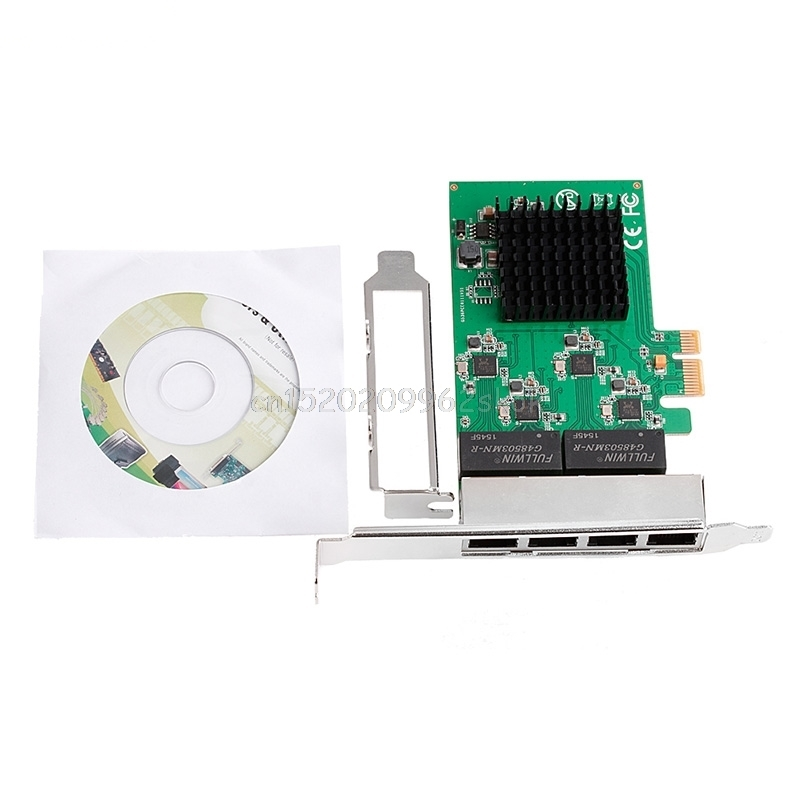 PCIe PCI Express to 4x Gigabit Card 4 Port Ethernet Network Adapter 10/100/1000M<br>