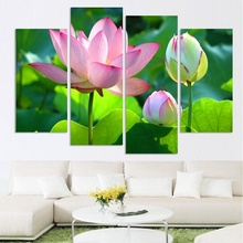 4 Piece NO Framed Canvas Photo Prints The Pink Lotus posters & prints Paintings Office Artwork Giclee Paintings Home Decor(China)