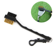 Sided Brass Wires Nylon Golf Club Brush Groove Ball Cleaner Cleaning Kit Tool