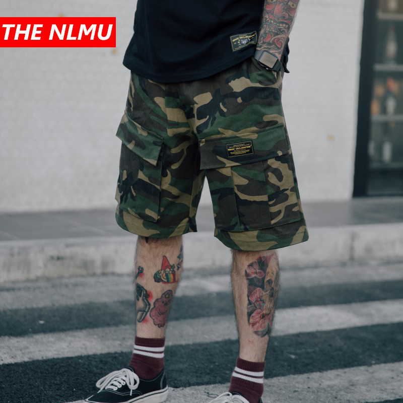 2019 Summer Camouflage Baggy Cargo Shorts Streetwear Hip Hop Men Casual Cotton Tactical Short Trousers Male Homme Shorts WG203